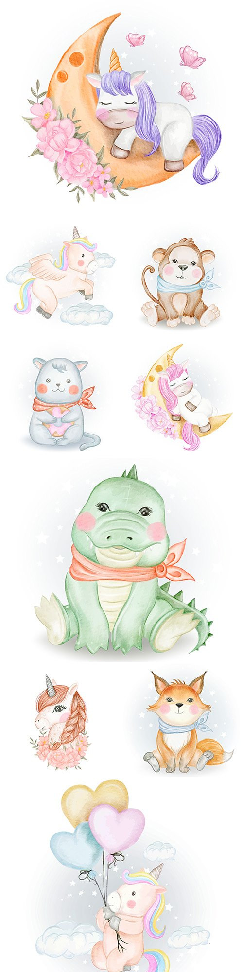 Funny animals flowers and balls watercolor illustrations 24