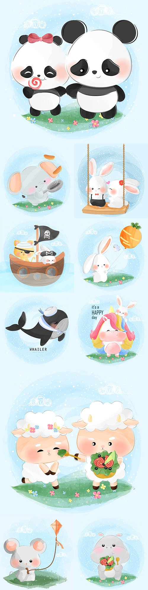 Funny animals flowers and balls illustrations 25