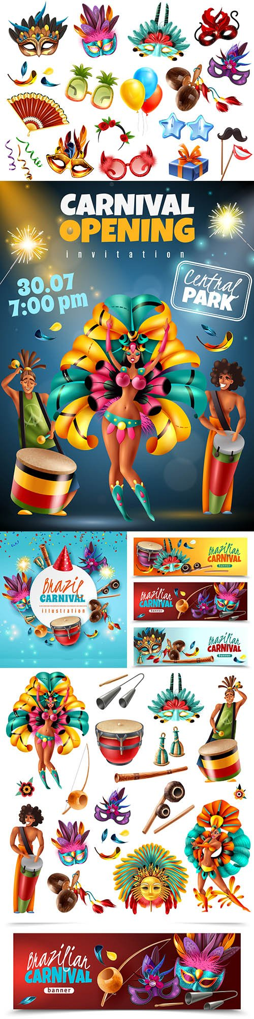 Brazilian carnival colorful invitations and elements