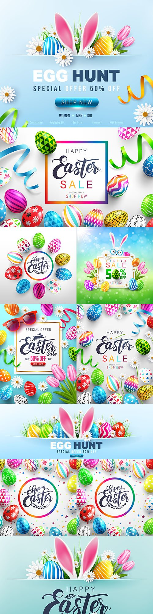Easter eggs and flower sale banner template