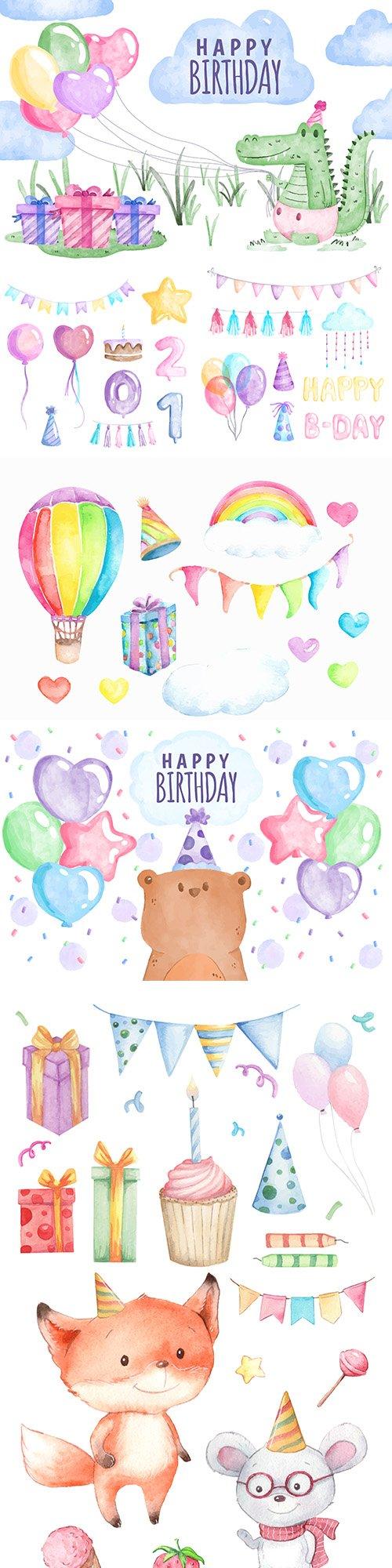 Happy Birthday decorative set element watercolor