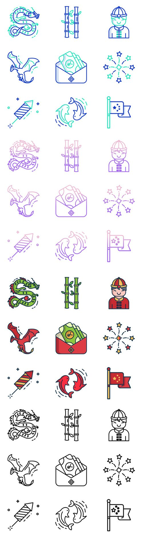 100 Cinese Outline Gradient, Outline, Outline Colour and Linear Colour Vector Icons Pack