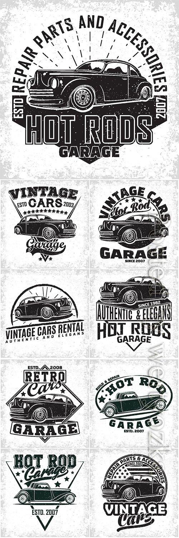 Vintage hot rod emblem vector design