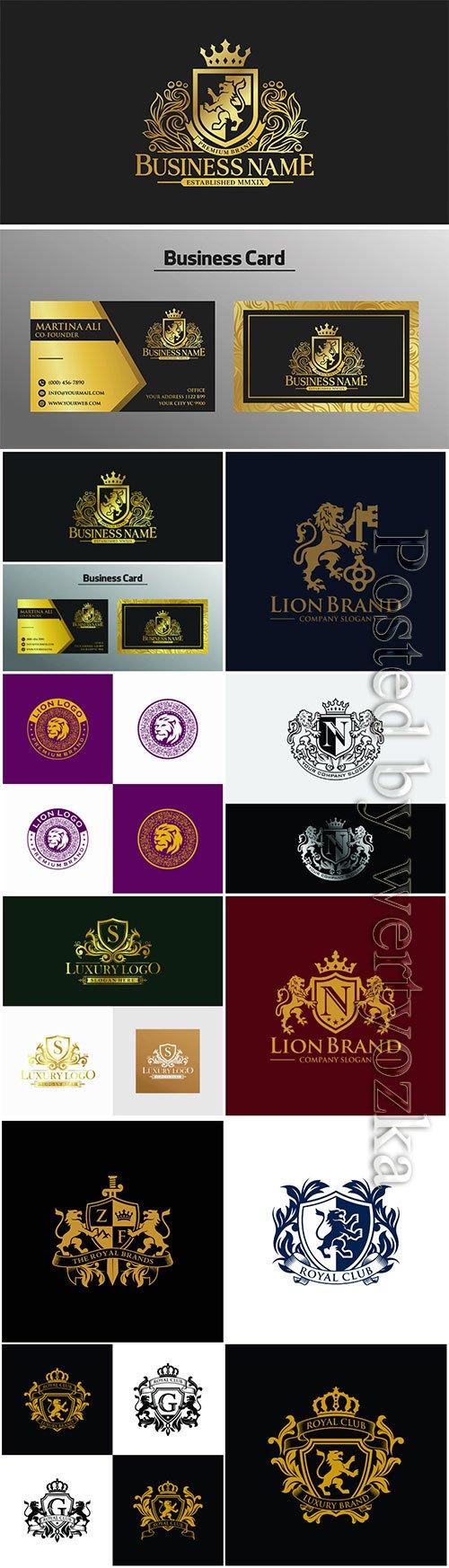 Golden luxury lion logo vector design