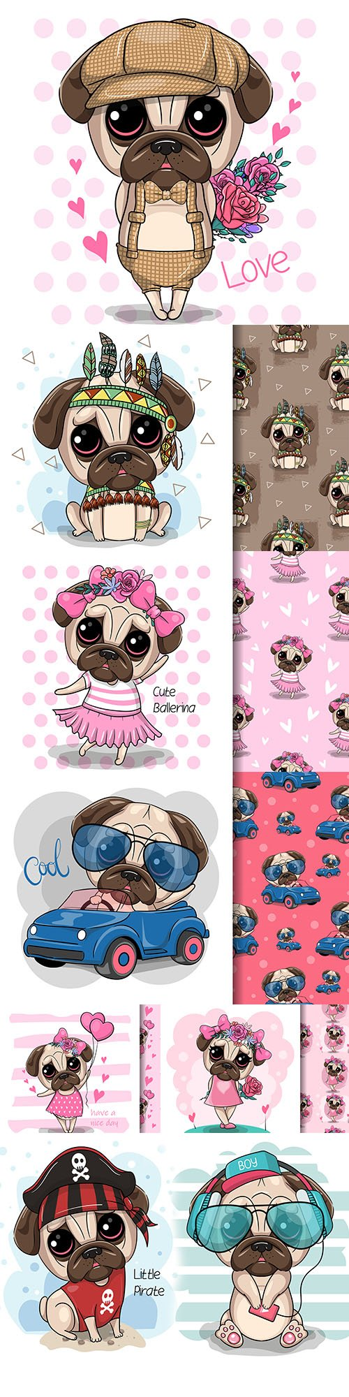 Cute cartoon mops dog in clothes and pattern