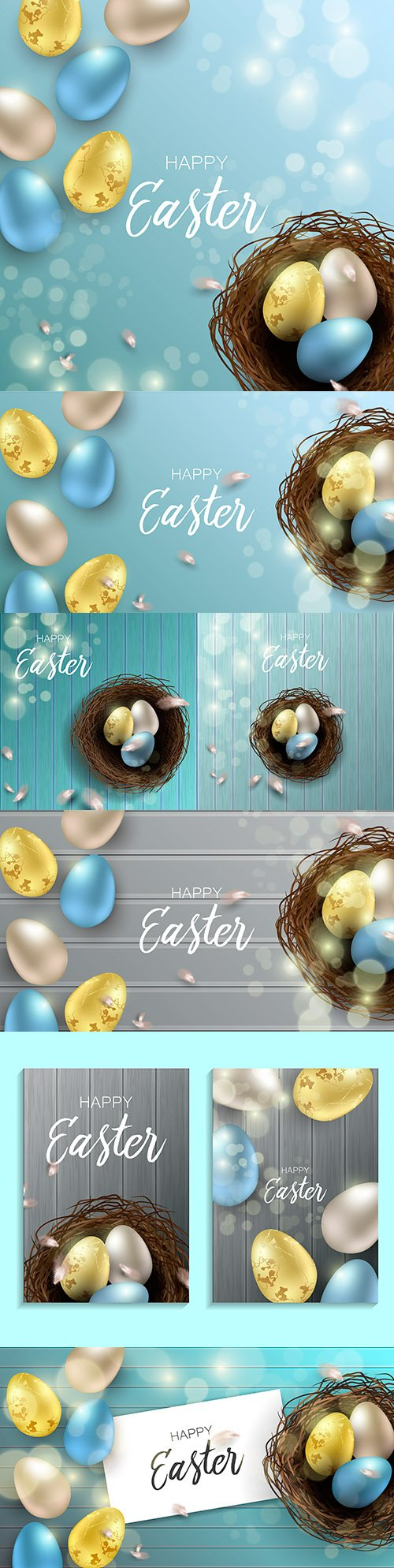 Easter eggs and chicken feathers realistic design