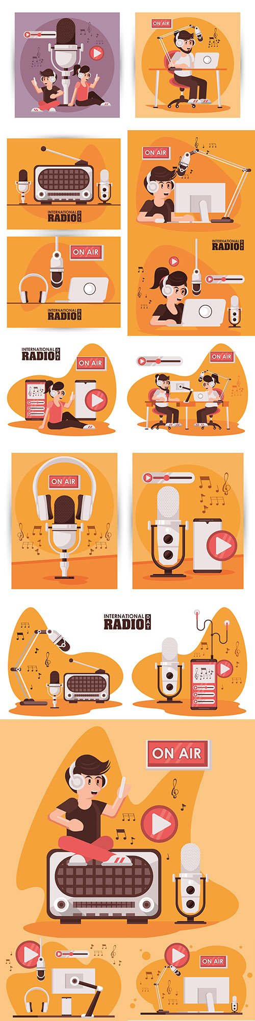 International radio day microphone and laptop flat design