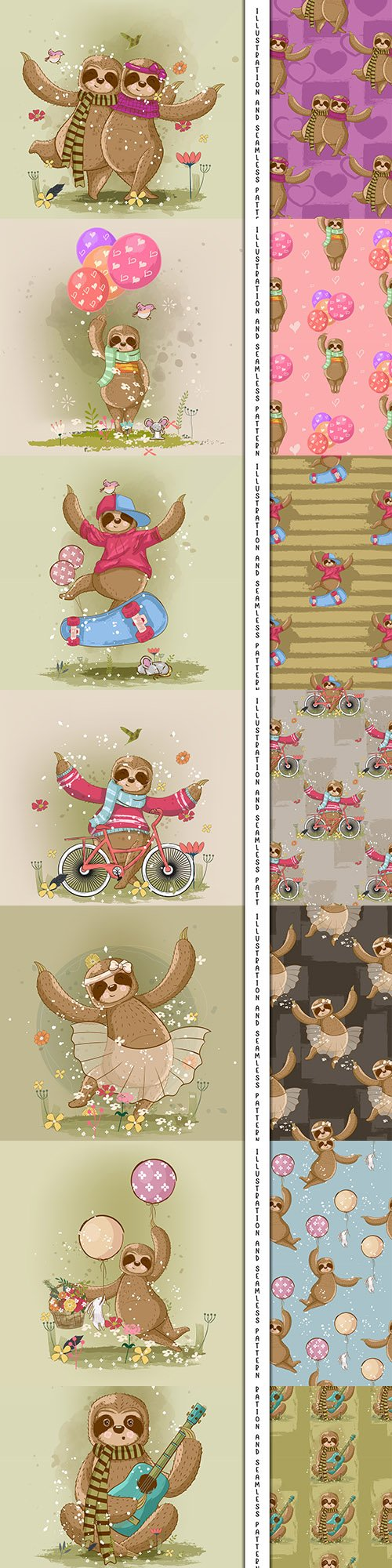 Lazy nice painted cartoon illustrations and pattern