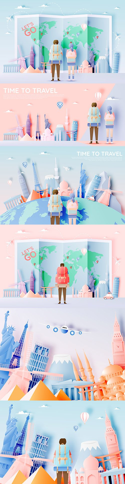 Travel different attractions in style paper art