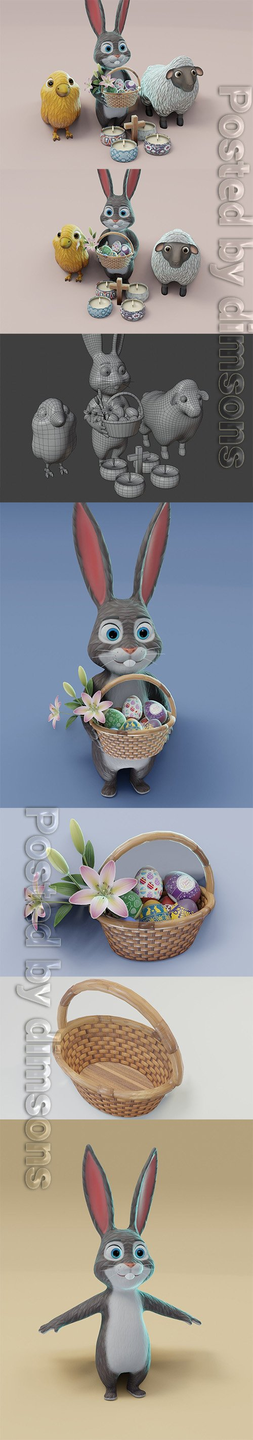 Easter 3D Model Low-poly 3D model
