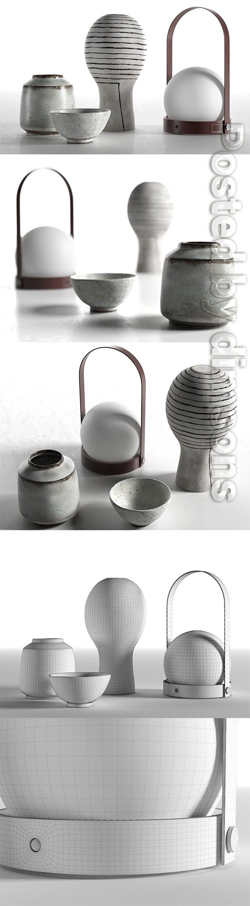 Carrie Portable Lamp with Vases 3D model