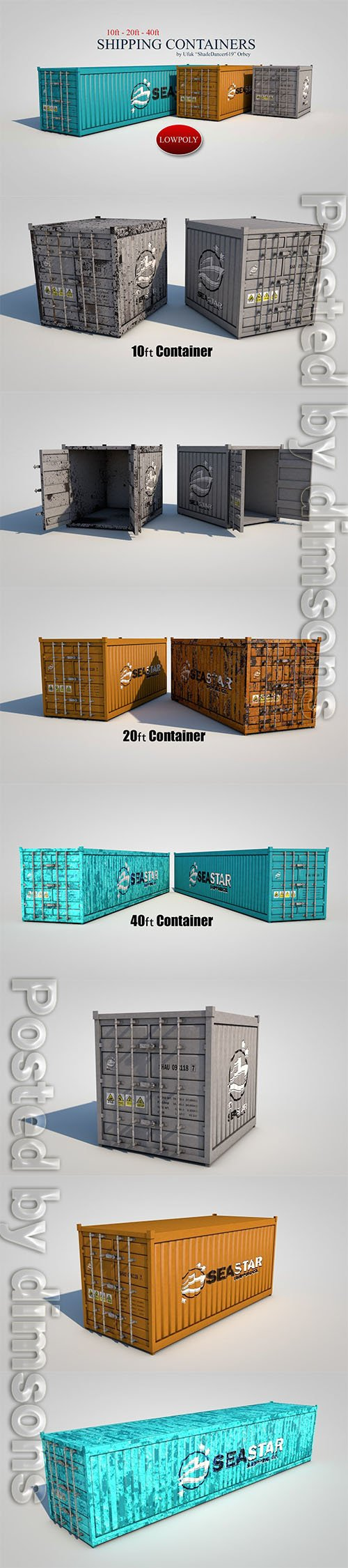 Shipping Containers Low-poly 3D model