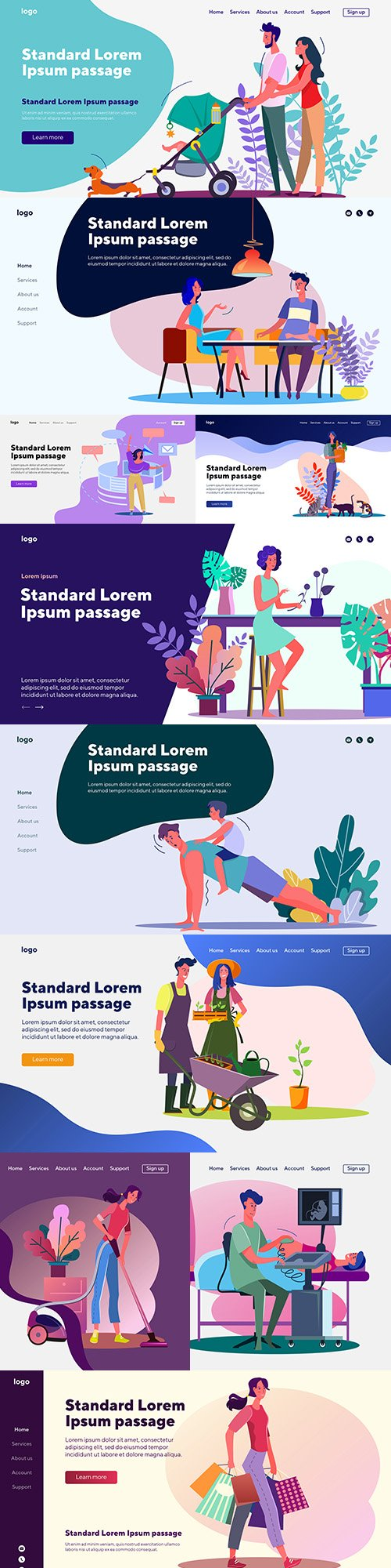 People landing page flat template website design