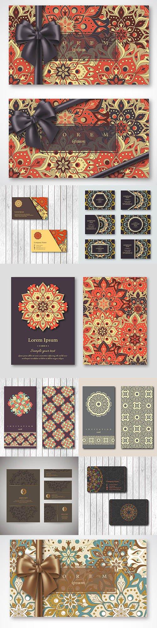 Card and invitation set templates with drawn mandala