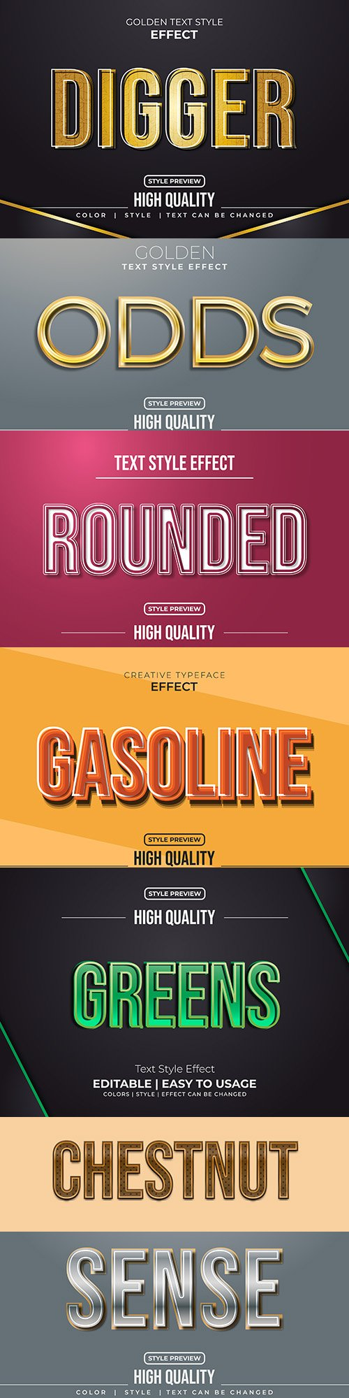 Editable font effect text collection illustration 24