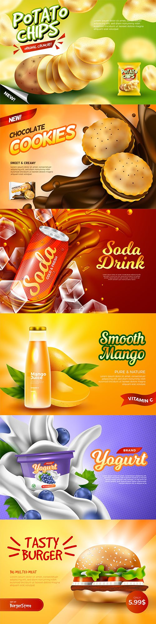 Fast drinks and food design template advertising