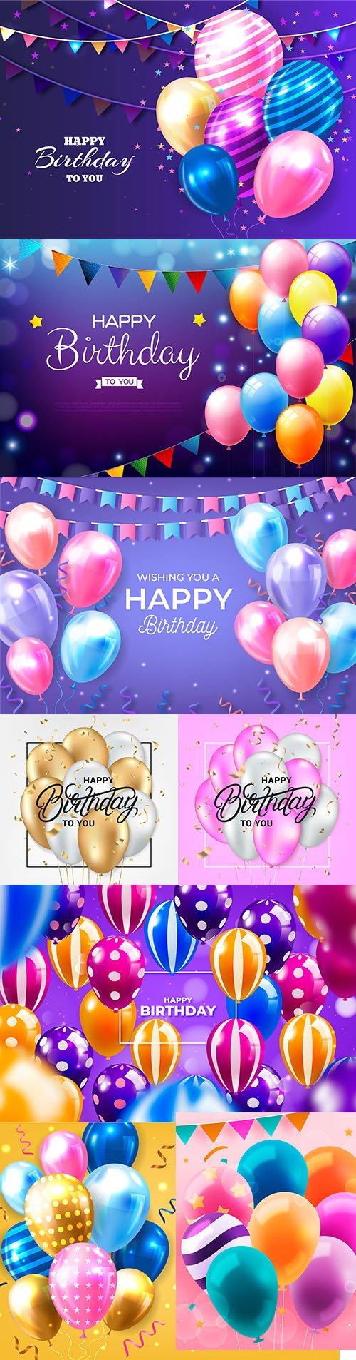Happy birthday holiday invitation realistic balloons
