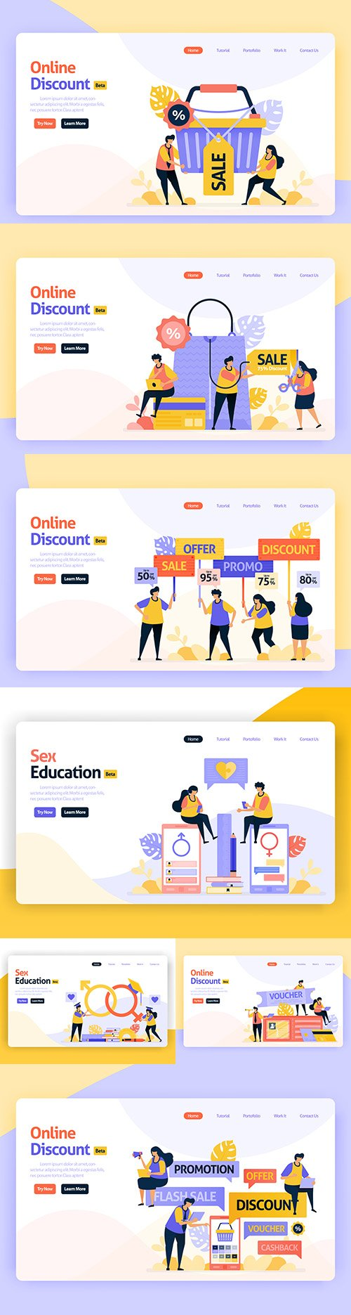Home page for internet applications flat design