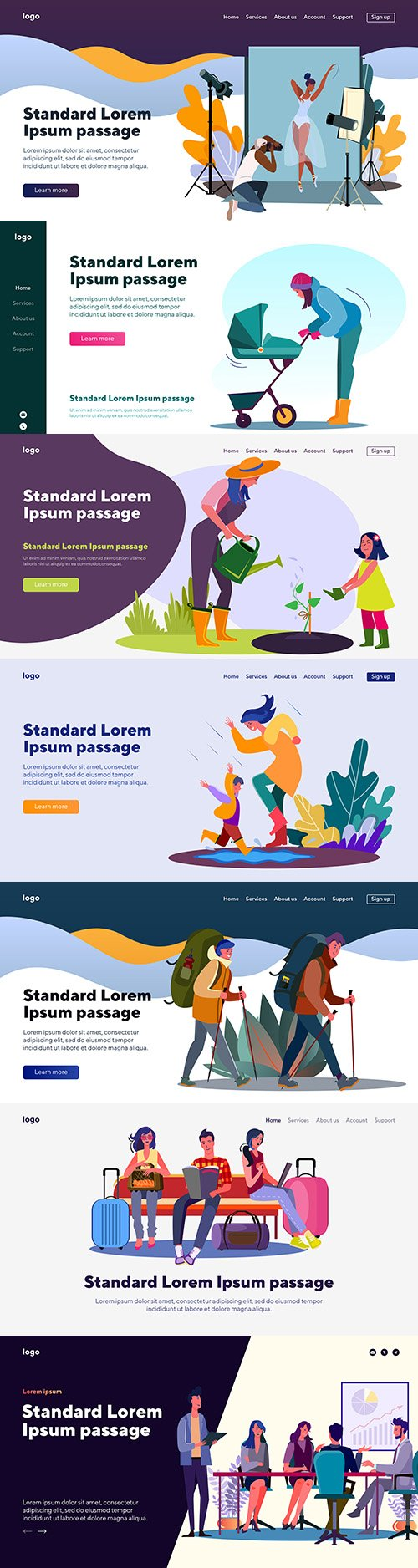 People landing page flat template website design 2