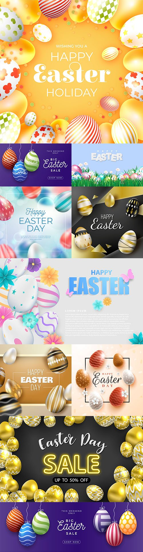 Happy Easter sale background multicolored eggs