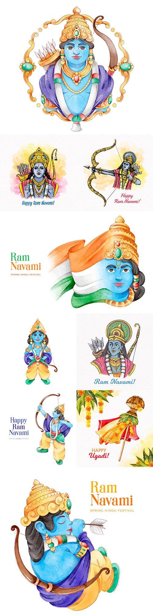 Ram Navami festival in flat watercolor design