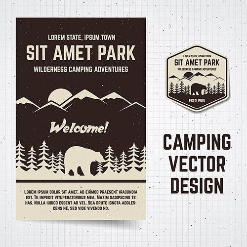 Camping Poster and Label