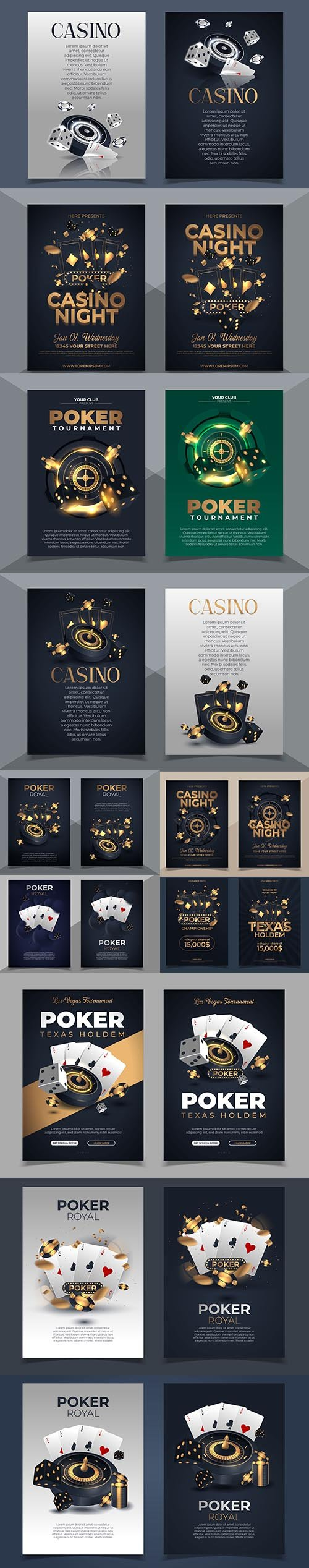 Poker Chips Cards Background Casino Template