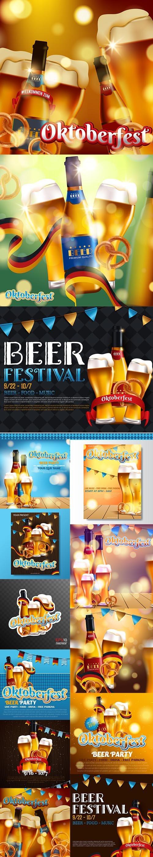 Advertising Traditional Oktoberfest Beer Festival Illustrations Set