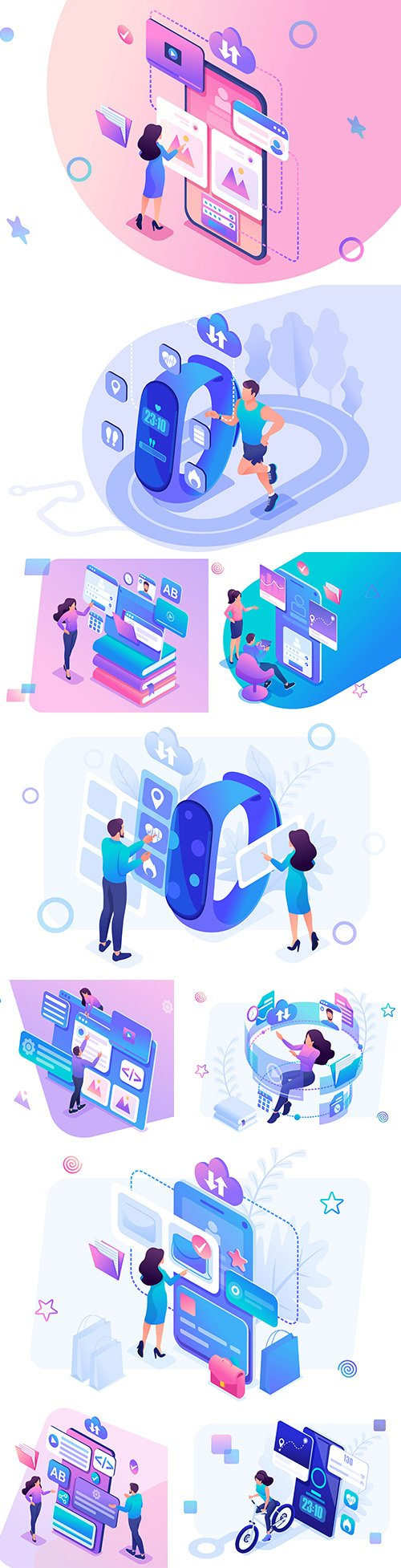 Isometric 3d illustration young people working on app