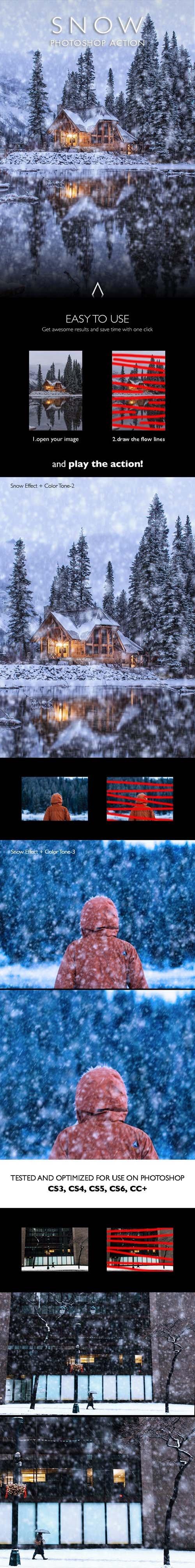 Snow Photoshop Action 25599566