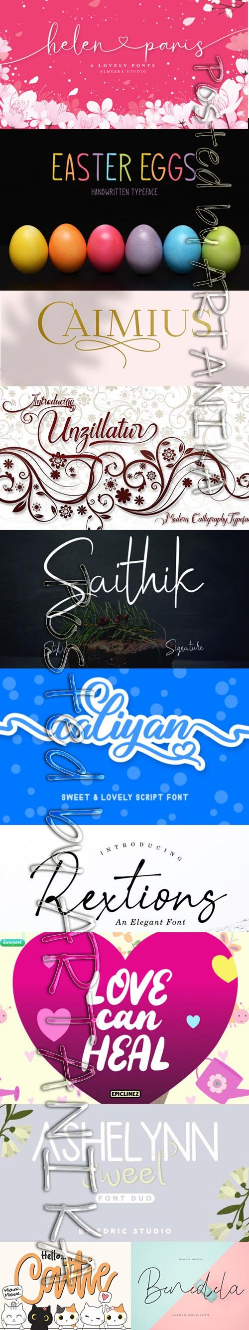 Collection of 11 Creative Fresh Fonts 2020 Vol 2