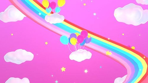 Rainbow And Balloons 25553939