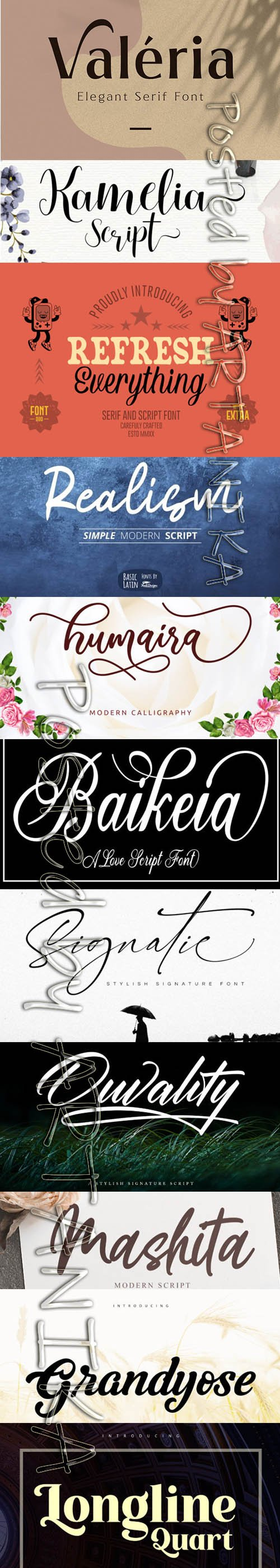 Collection of 11 Creative Fresh Fonts 2020 Vol 4