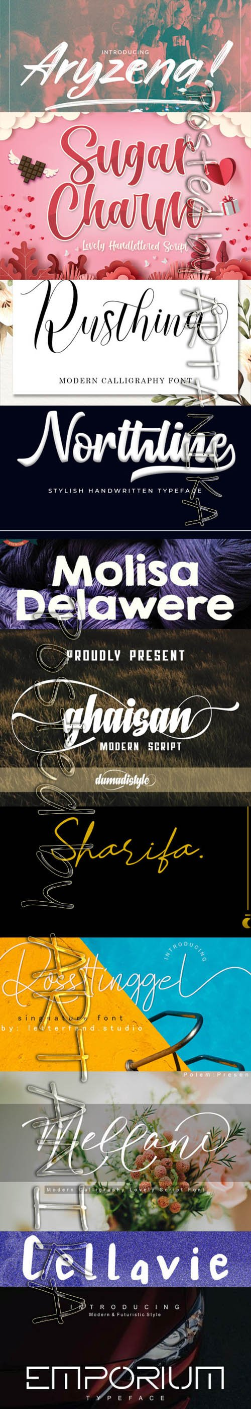 Collection of 11 Creative Fresh Fonts 2020 Vol 7