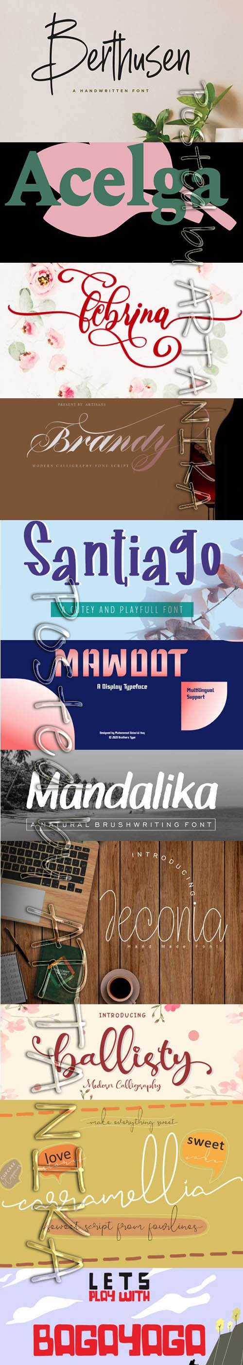 Collection of 11 Creative Fresh Fonts 2020 Vol 5