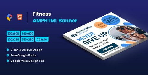 CodeCanyon - Fitness AMPHTML Banners ads template - 25806650