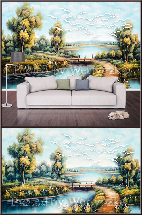 3D psd background wall painted landscape