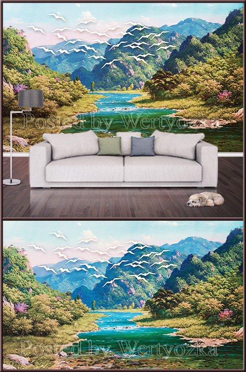 3D psd background wall beautiful landscape