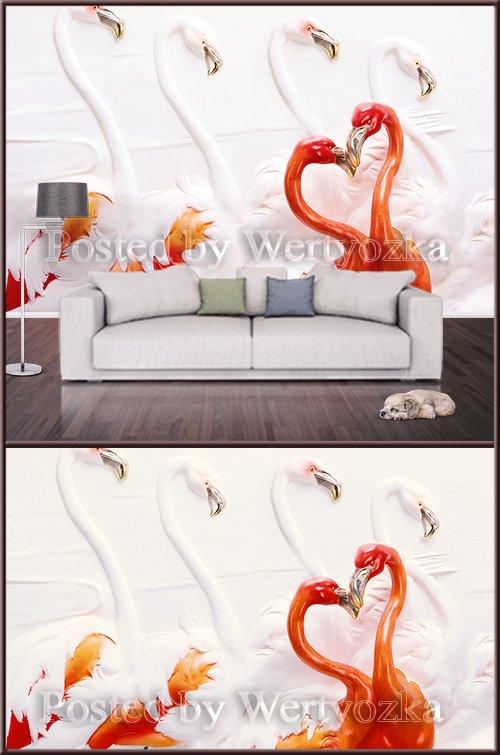 3D psd background wall flamingo