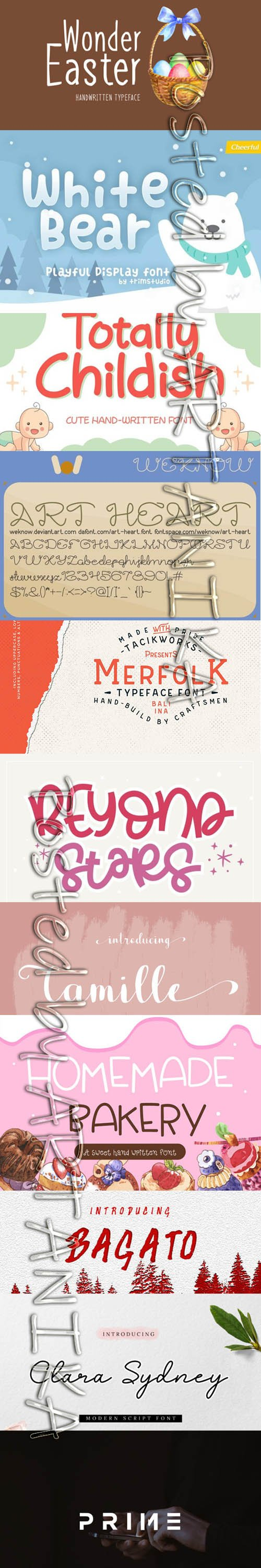 Collection of 11 Creative Fresh Fonts 2020 Vol 10