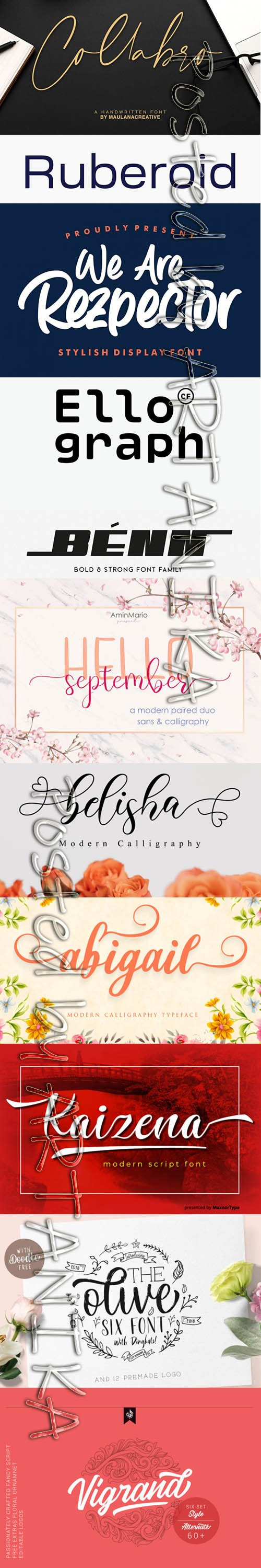 Collection of 11 Creative Fresh Fonts 2020 Vol 9