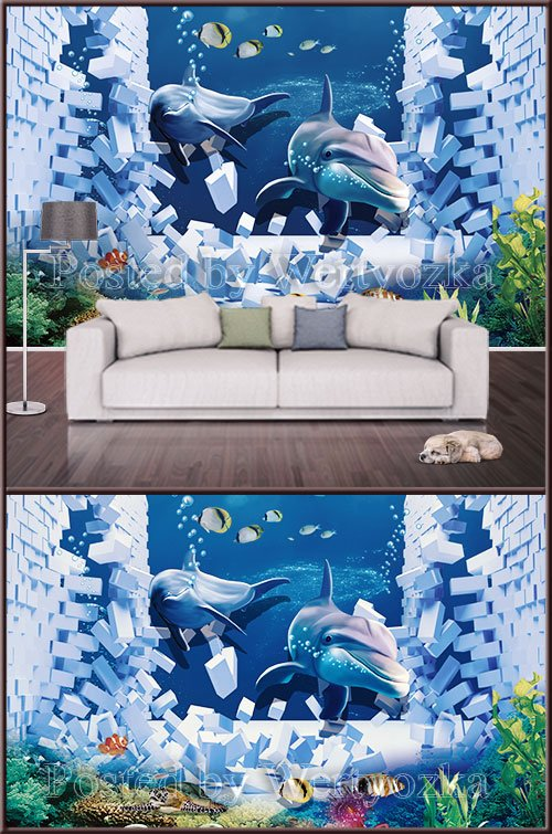 3D psd background wall broken wall and dolphins