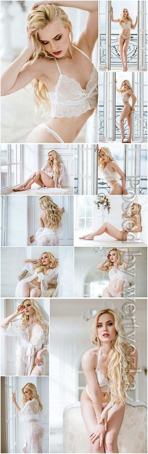 Sexy blonde girl beautiful stock photo