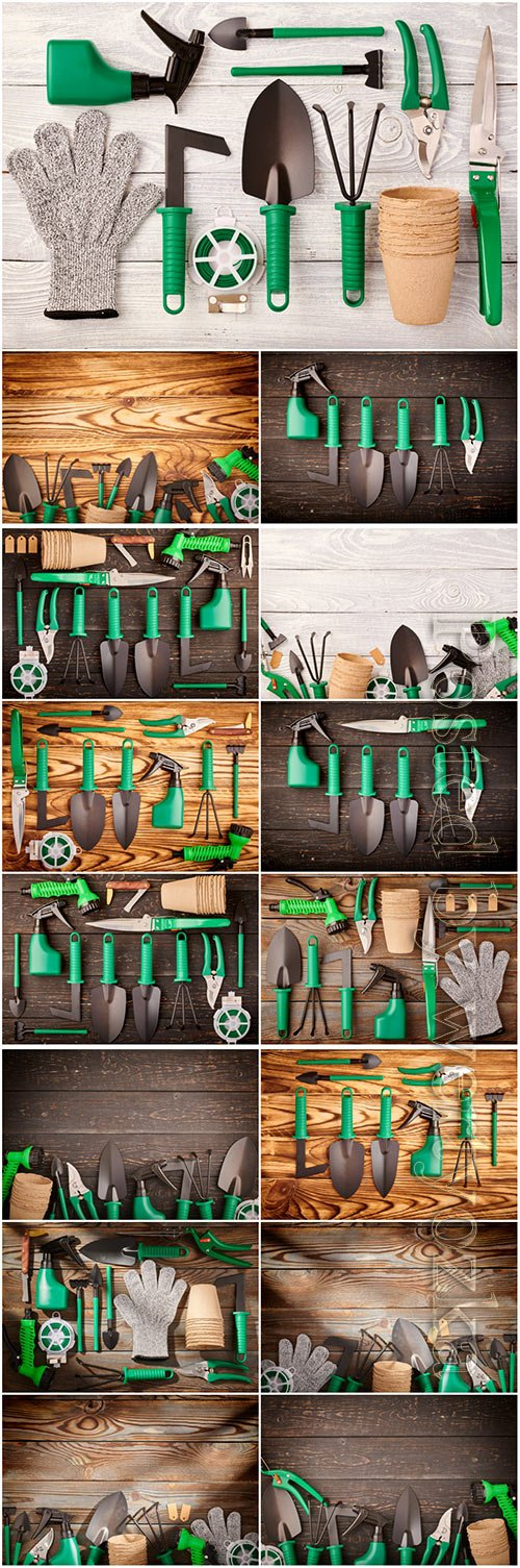 Gardening tools beautiful stock photo