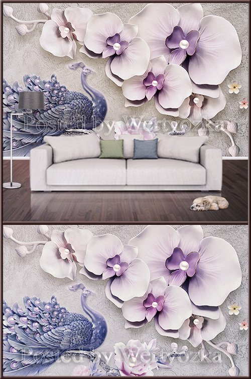 3D psd background wall peacock and orchids