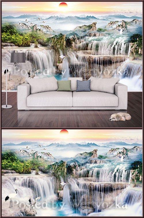 3D psd background wall waterfall  landscape