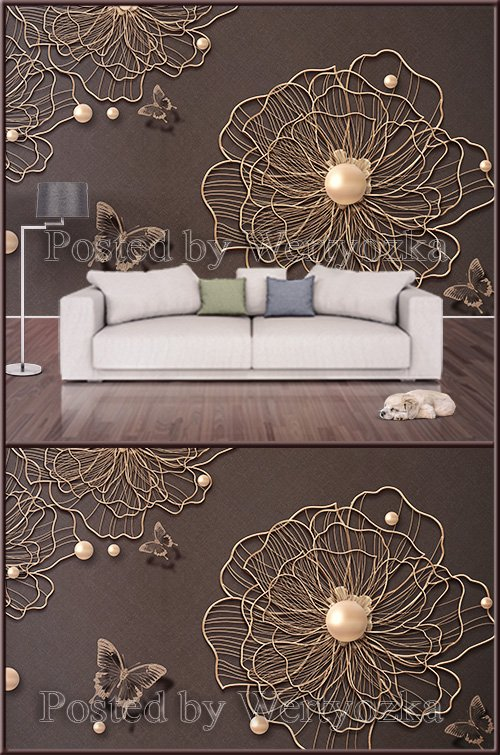 3D psd background wall golden flowers with pearls