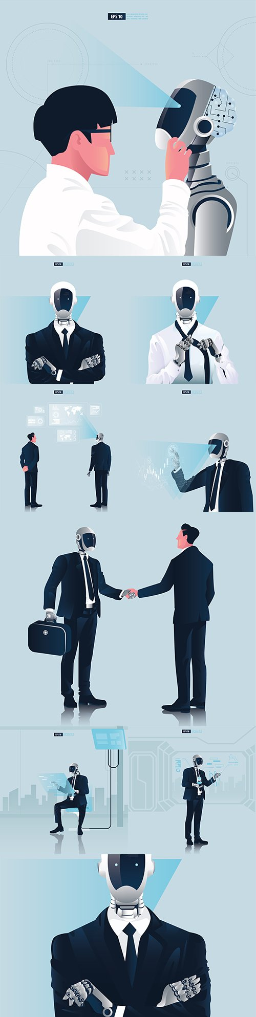 Businessman and robot concept of artificial intelligence technology
