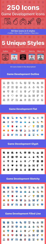 250 Game Development Icons