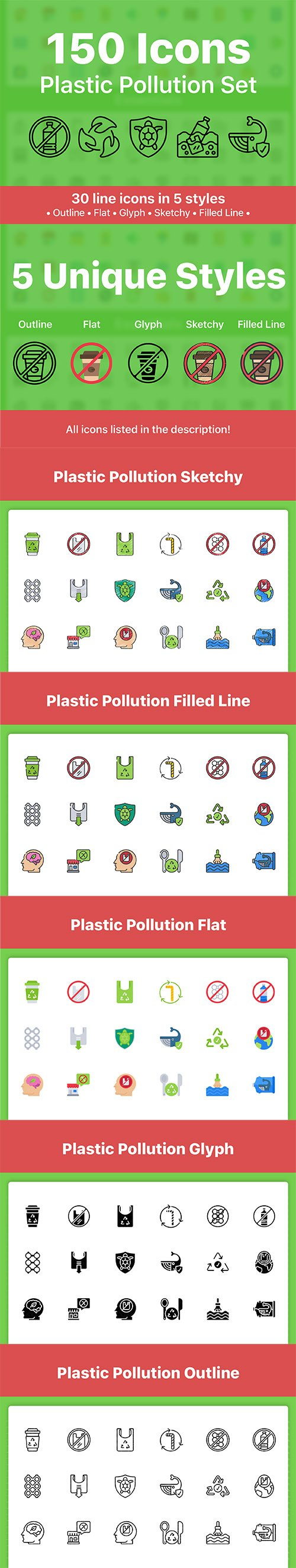 150 Plastic Pollution Icons